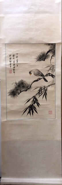 CHINESE PAINTING OF FLOWERS AND BIRD, MARKED PUZUO