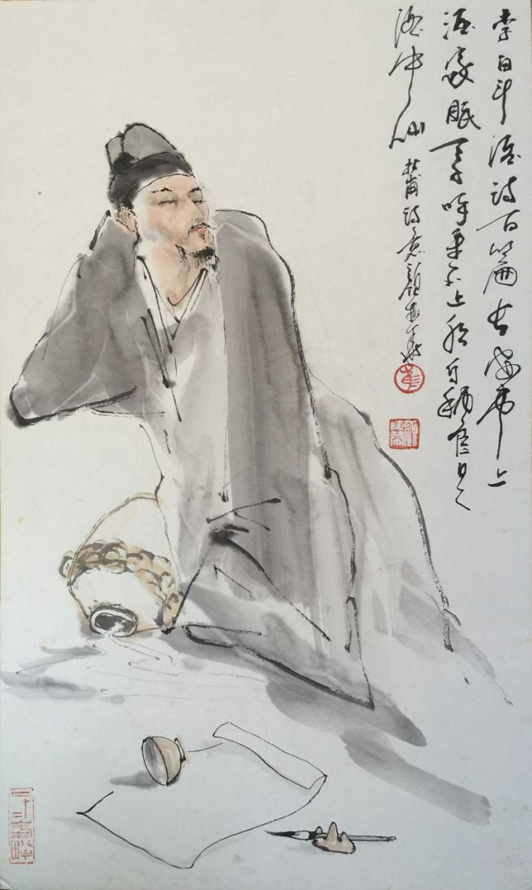 CHINESE PAINTING OF LIBAI MARKED YANMEIHUA