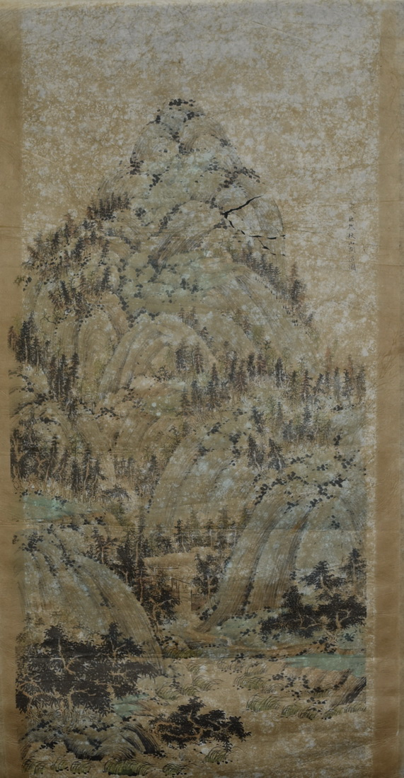 A CHINESE SCROLL PAINTING OF LANDSCAPING