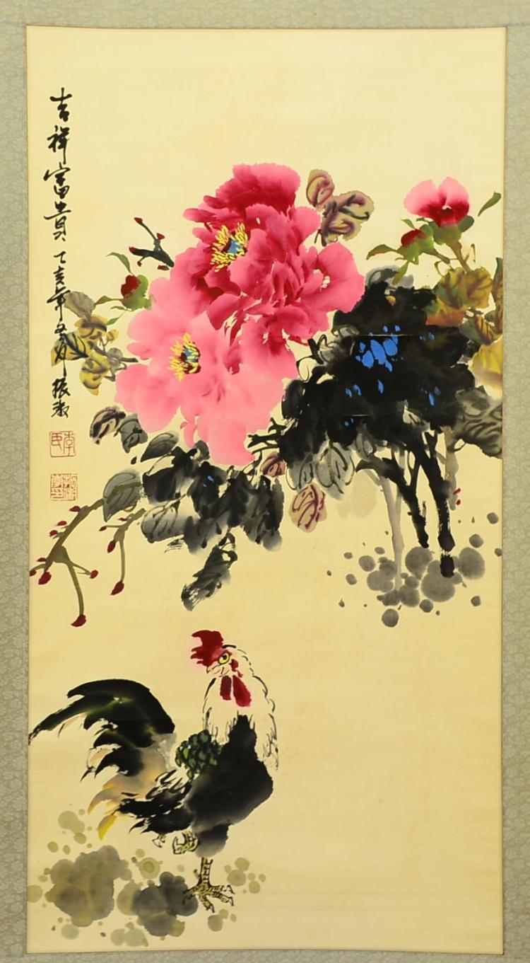 LIZHENSHU MARK, A WATERCOLOUR PEONY AND CHICKEN HANGING SCROLL