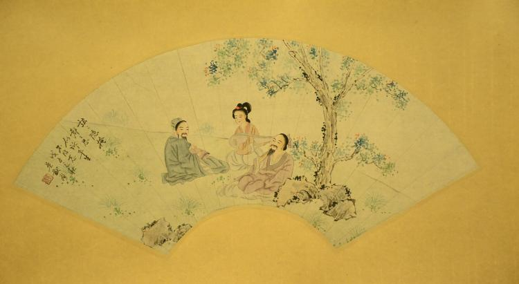 CHINESE INK AND WASH FAN PAINTING