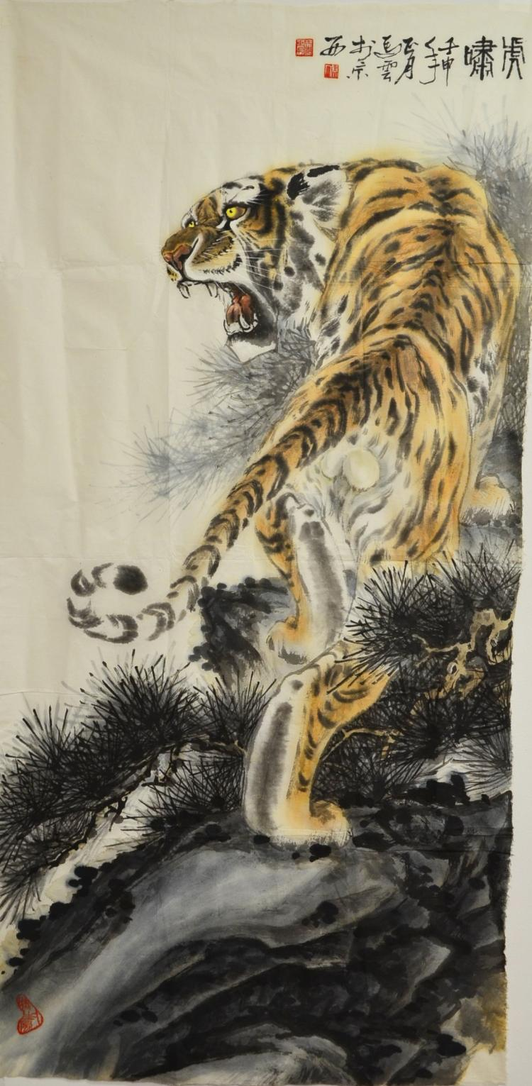 A CHINESE PAINTING OF TIGER,