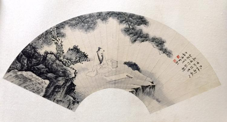 CHINESE FAN PAINTING MARKED CHENSHAOMEI