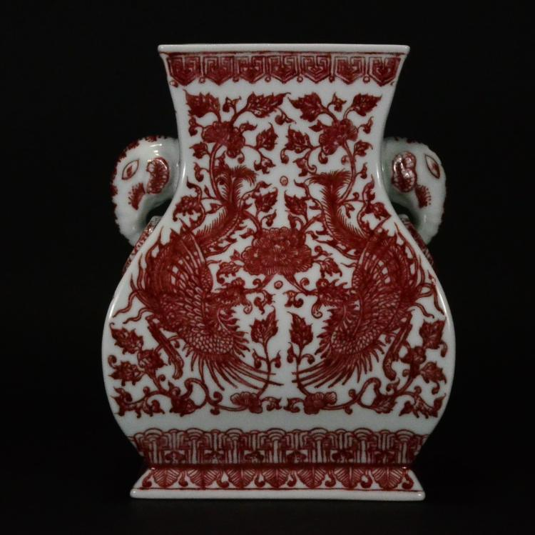 Qianlong Mark A Copper Red Square Vase