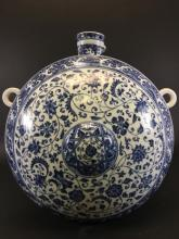 MING STYLE, A BLUE AND WHITE LOTUS FLAT VASE