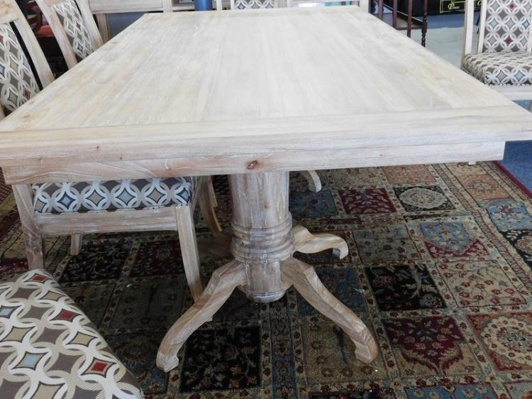 white washed wood dining room table