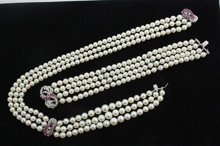 A cultured pearl multiple-row collar necklace and