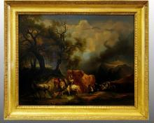 LANDSCAPE WITH CHARACTERS INTENT ON AVOIDING A STORM