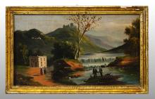 RIVER LANDSCAPE WITH FIGURES AND COTTAGES
