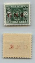 GNR VERONA - 1944 - GNR Verona - 2 lire (56dgb - Segnatasse) - punto piccolo dopo G + punto grosso dopo N + decalco della R - gomma integra - non catalogato - cert. AG (1.100++)