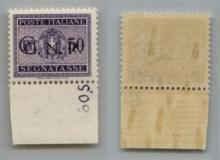 GNR VERONA - 1944 - GNR Verona - 50 cent (53 - Segnatasse) bordo foglio con Numero di Tavola (605.) - N punto grosso + R difettosa con punto molto piccolo - gomma integra - non catalogato