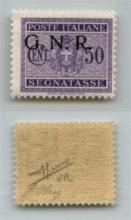GNR VERONA - 1944 - GNR Verona - 50 cent (53da - Segnatasse) con soprastampa in alto a sinistra - gomma integra - Oliva + Sorani (450)