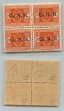 GNR VERONA - 1944 - GNR Verona - 1 lira (55 - Segnatasse) in quartina - gomma integra (400++)