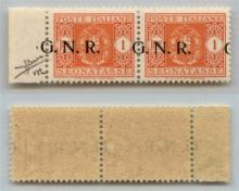 GNR VERONA - 1944 - GNR Verona - 1 lira (55dd - Segnatasse) - coppia bordo foglio con soprastampe oblique (G a cavallo) - punto piccolo dopo G a destra - gomma integra - cert. Sorani