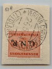 GNR VERONA - 1944 - GNR Verona - 30 cent (51a - Segnatasse) con soprastampa capovolta su frammento - Verona (Titolare) 26.5.44 - Oliva