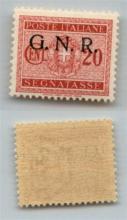 GNR VERONA - 1944 - GNR Verona - 20 cent (49 - Segnatasse) - punto piccolo dopo N - gomma integra - non catalogato - cert. AG