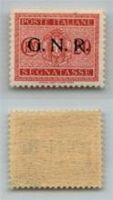 GNR VERONA - 1944 - GNR Verona - 20 cent (49 - Segnatasse) con punto piccolo dopo R - gomma integra - non catalogato - cert. AG