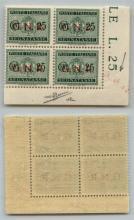 GNR VERONA - 1944 - GNR Verona - 25 cent (50 - Segnatasse) - quartina angolare con leggera controsoprastampa obliqua in angolo - punto grosso dopo N + punto piccolo dopo R in posizione 100 - gomma integra - non catalogato - cert. AG