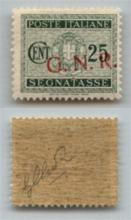 GNR VERONA - 1944 - GNR Verona - 25 cent (50dd - Segnatasse) con soprastampa obliqua - gomma integra (200)