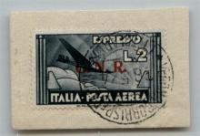 GNR VERONA - 1944 - GNR Verona - 2 lire Aeroespresso (125) su frammento - Verona (Titolare) 26.5.44 - molto bello (3.500++)