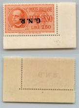 GNR VERONA - 1944 - GNR Verona - 2,50 lire Espresso (20a) angolo di foglio (pos. 1) con soprastampa capovolta - punti grossi - gomma integra - non catalogato - molto bello - cert. AG (1.600++)