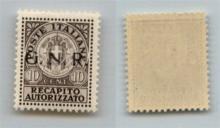 GNR VERONA - 1944 - GNR Verona - Saggi - 10 cent Recapito (P1) con soprastampa in nero - gomma integra (900)