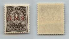 GNR VERONA - 1944 - GNR Verona - Saggi - 10 cent Recapito (P2) con soprastampa in rosso - gomma integra (900)