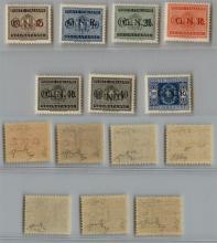 GNR VERONA - 1944 - GNR Verona -Errori di Colore - Segnatasse (47A/58A + 52Aa) - serie completa con i due 40 cent (soprastampa diritta  + capovolta) - gomma integra - cert. Raybaudi + cert. AG (8.200)