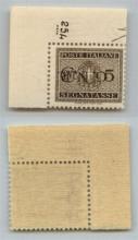 GNR VERONA - 1944 - GNR Verona - 5 cent (47a - Segnatasse) angolo di foglio con soprastampa capovolta - R punto piccolo + Numero di Tavola (254...) - gomma integra - non catalogato - cert. AG