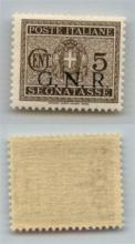 GNR VERONA - 1944 - GNR Verona - 5 cent (47 - Segnatasse) - punto dopo R praticamente mancante (piccola traccia) - gomma integra - non catalogato - cert. AG