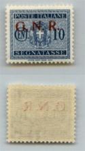 GNR VERONA - 1944 - GNR Verona - 10 cent (48 - Segnatasse) con soprastampa obliqua (varietà dd) - gomma integra - non catalogato