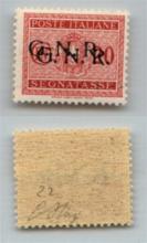 GNR VERONA - 1944 - GNR Verona - 20 cent (49b - Segnatasse) con doppia soprastampa - gomma integra - Oliva (220)