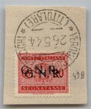 GNR VERONA - 1944 - GNR Verona - 20 cent (49b - Segnatasse) con doppia soprastampa su frammento - Oliva