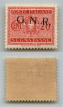 GNR VERONA - 1944 - GNR Verona - 20 cent (49dd - Segnatasse) con soprastampa obliqua - gomma integra - molto bello (200+)