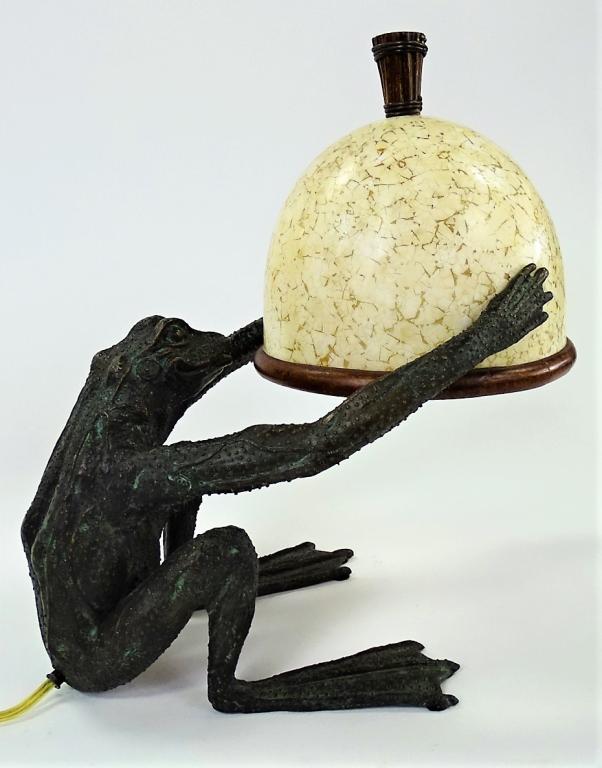 Maitland Smith Decorative Bronze Frog Lamp
