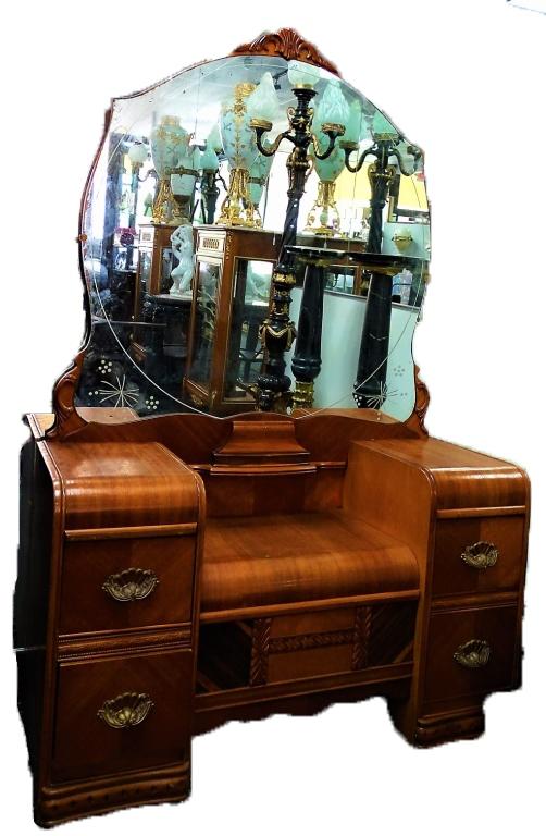 Art Deco Walnut Waterfall Vanity Desk With Mirror