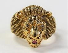 MEN'S 10KT YELLOW GOLD LIONS HEAD RING