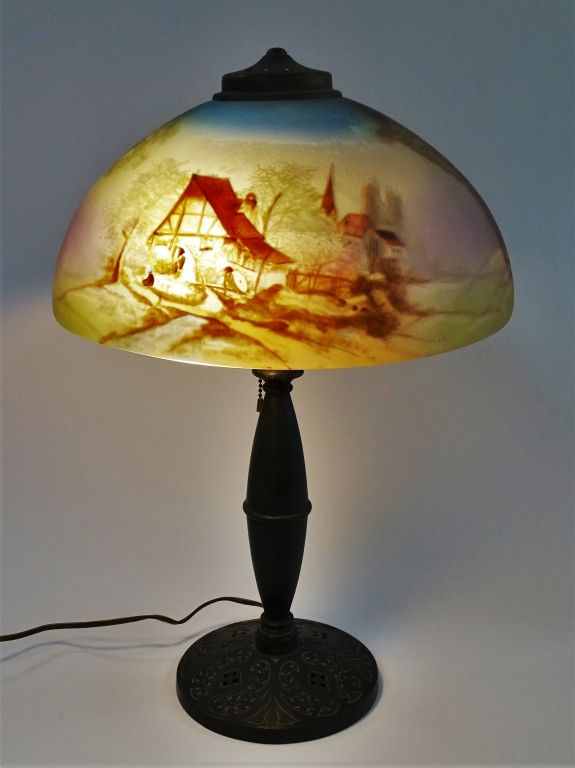 Antique Reverse Hand Painted Pittsburgh Glass Lamp