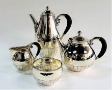 GEORG JENSEN RARE DECO STERING 4 PIECE TEA SET