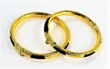 RARE CHINESE ANTIQUE 24KT GOLD & ONYX BANGLE BRACELETS