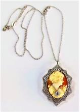 VINTAGE 14KT WG DIAMOND CAMEO PENDANT NECKLACE