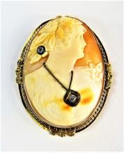 LADIES LARGE VINTAGE 14KT YG CAMEO PIN/PENDANT