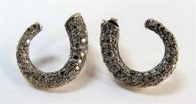 LADIES 10KT WHITE GOLD & DIAMOND HOOP EARRINGS
