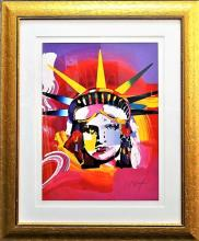 LARGE PETER MAX SERIGRAPH 'LIBERTY HEAD'