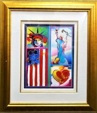 LARGE PETER MAX ' 2 LIBERTIE ' MIXED MEDIA