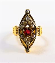LADIES VICTORIAN 14KT ROSE GOLD RUBY RING