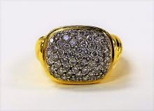 LADIES 18KT YELLOW GOLD & DIAMOND CLUSTER RING