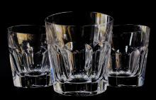 SET OF 3 LARGE SIGNED BACCARAT TUMBLERS