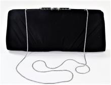 VINTAGE JUDITH LEIBER JEWELED BLACK SATIN CLUTCH