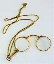 14KT Y GOLD ANTIQUE LORGNETTE WITH LONG 14KT FOB